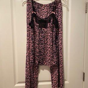 Betsy Johnson 2 pc leopard print pajamas